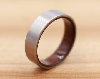 Titanium Ring Lined with Cocobolo - Wedding Band - Unique Wedding Ring - Wood Titanium Ring