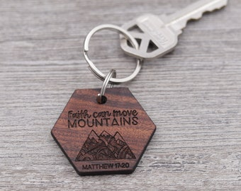 Move Mountains, Personalized Keychain, Custom Keychain, Wood Keychain, Inspirational, Bible Verse Keychain, Religious, Matthew 17:20, Faith