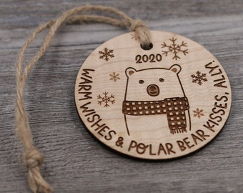 Polar Bear Ornament, Name Ornament, Personalized Wood Ornament, Custom Ornament, Christmas Ornament, Holiday Gift, Personalized Gift