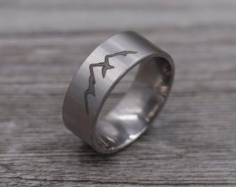 Titanium Mountain Ring,Titanium Band, Wedding Band,Personalized Ring,Engraved Ring,Custom Ring,Wedding Ring,Unique Ring,Mens Jewelry