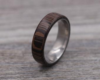 Wenge Ring,Wood Ring,Titanium Ring,Personalized Ring,Wooden Ring,Wedding Ring,Unique Ring,Mens Jewelry