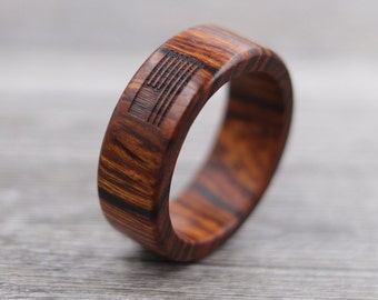Desert Ironwood American Flag Ring - Custom Wood Ring - Patriotic Jewelry - Wedding Ring - Wooden Ring - Mens Jewelry - 5 Year Anniversary