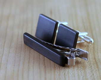 Wooden Cufflinks and Tie Bar set - Blackwood - Groomsmen gift - 5th wedding anniversary present - Square Cuff Link - Gift for Him