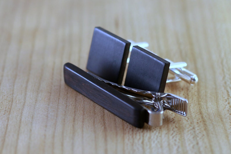 Blackwood Gift for Him 5th wedding anniversary present Wooden Cufflinks and Tie Bar set Square Cuff Link Groomsmen gift