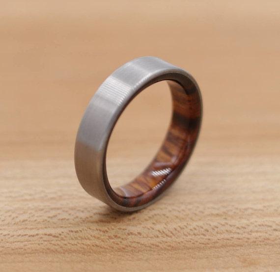 Titanium Ring Lined with Desert Ironwood - Wedding Band - Unique Wedding Ring