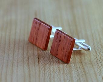 Wooden Cufflinks - Padauk - Groomsmen gift - 5th wedding anniversary present - Square Cuff Link - Gift for Him - Mens Jewelry