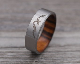 Titanium Mountain Ring,Titanium Ring,Personalized Ring,Outdoor Landscape,Wedding Ring,Mountains,Wooden Ring,Mens Jewelry,Wood Ring