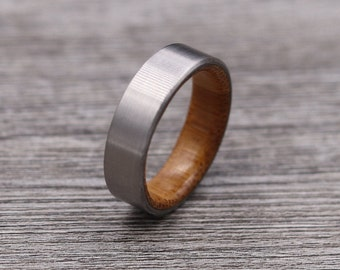Titanium Ring Lined with Bamboo - Wedding Band - Unique Wedding Ring