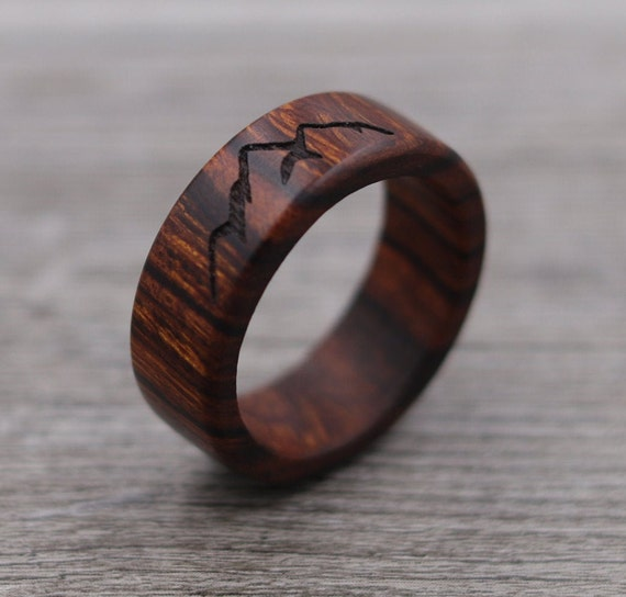 Mountain Ring - Personalized Ring - Outdoor Landscape - Wedding Ring - Mountains - Wooden Ring - Mens Jewelry - 5 Year Anniversary