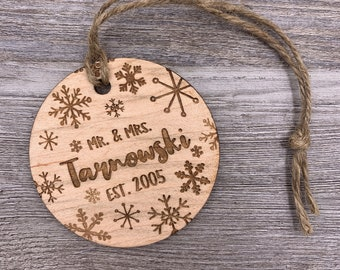 Couples Ornament - Personalized Wood Christmas Ornament - Custom Ornament - Christmas Gift - Holiday Gift - Anniversary - Personalized Gift