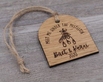 Mistletoe, Couples Ornament, Personalized Wood Christmas Ornament, Custom Ornament, Christmas Gift, Holiday Gift, Anniversary, Personalized
