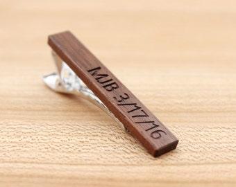 Wood Tie Clip - Personalized - Walnut - 5th wedding anniversary present - Groomsmen gift