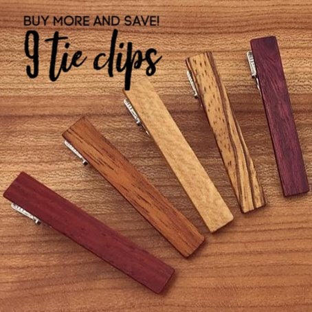 f05e5128932f 9 Wood Tie Clips - Groomsmen gift - 5th wedding anniversary present - Wood  Tie Bars - Personalized Tie Clips - Gift for Him