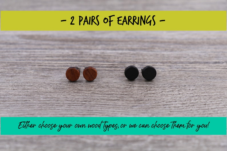 2 pairs of wood earrings Wood earrings Wood stud earrings image 0