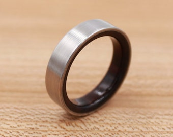 Titanium Ring Lined with East Indian Rosewood- Wedding Band - Unique Wedding Ring