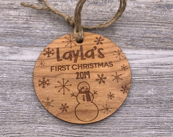 First Christmas - Personalized Wood Christmas Ornament - Custom Ornament - Christmas Gift - Holiday Gift - Wood Ornament - Name Ornament