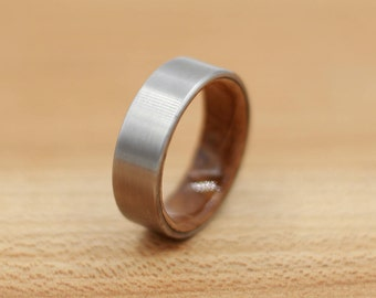 Titanium Ring Lined with Wood from a Whiskey Barrel - Wedding Band - Unique Wedding Ring