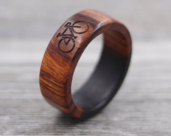 Desert Ironwood Bicycle Ring, Custom Wood, Ring - Wooden Ring, Mens Jewelry, 5 Year Anniversary, Father's Day