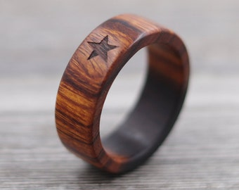 Desert Ironwood Star Ring, Custom Wood, Ring - Wooden Ring, Mens Jewelry, 5 Year Anniversary, Father's Day
