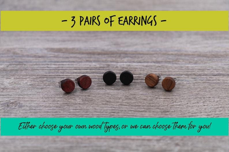 3 pairs of wood earrings Wood earrings Wood stud earrings image 0