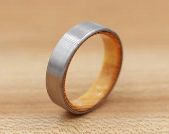 Titanium Ring Lined with Osage Orange - Wedding Band - Unique Wedding Ring