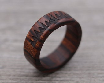 Forest Engraved Ring  - Fir Trees - Personalized Ring - Outdoor Landscape - Wedding Ring - Wooden Ring - Mens Jewelry - 5 Year Anniversary