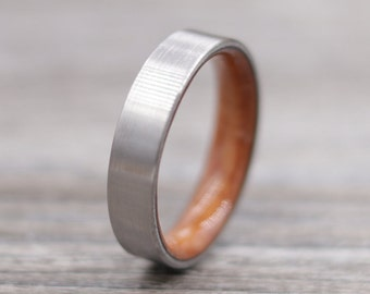 Titanium Ring Lined with Redwood - Wedding Band - Unique Wedding Ring - Titanium Wedding Band