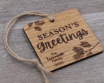 Season's Greetings, Family Ornament, Personalized Wood Christmas Ornament, Custom Ornament, Christmas Gift, Holiday Gift, Personalized Gift