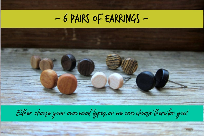 6 pairs of wood earrings Wood earrings Wood stud earrings image 0