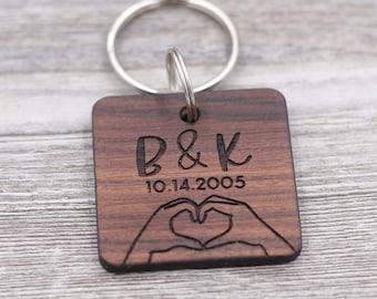 Heart Hands, Love Keychain, ASL Sign Language, Boyfriend Gift, Girlfriend Gift, Personalized Keychain, Custom Keychain, Wood Keychain