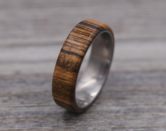Bocote Wood Ring,Wood Ring,Titanium Ring,Personalized Ring,Wooden Ring,Wedding Ring,Unique Ring,Mens Jewelry