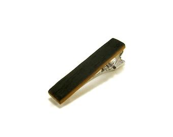 Wood Tie Clip - Kentucky Bourbon Whiskey Barrel - Groomsmen gift - 5th Wedding Anniversary Present - 1.75 inch Long Tie Bar