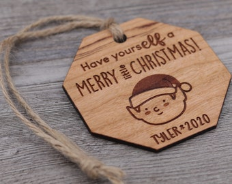 Elf Ornament, Name Ornament, Personalized Wood Ornament, Custom Ornament, Christmas Ornament, Holiday Gift, Personalized Gift