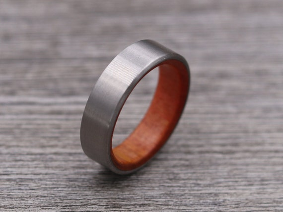 Titanium Ring Lined with Pink Ivory - Wedding Band - Unique Wedding Ring