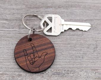 I Love You Sign, ASL Keychain, American Sign Language Keychain, Personalized Keychain, Custom Wood Keychain, Small Gift, Friend Gift