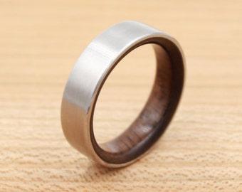 Titanium Ring Lined with Walnut- Wedding Band - Unique Wedding Ring