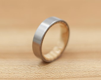 Titanium Ring Lined with Ash Wood from a Louisville Slugger Baseball Bat - Wedding Band - Unique Wedding Ring - Titanium Wedding Band
