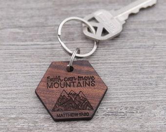 Move Mountains, Personalized Keychain, Custom Keychain, Wood Keychain, Inspirational, Bible Verse Keychain, Religious, Matthew 17:20, Faith