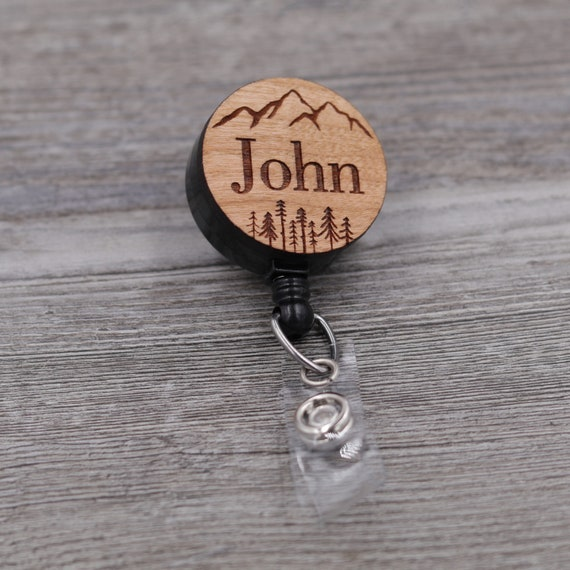 Mountains and Pine Trees, Name Badge Reel, Custom ID Badge, Retractable Badge Reel, Work Badge, Work ID, Personalized Badge, Co Worker Gift
