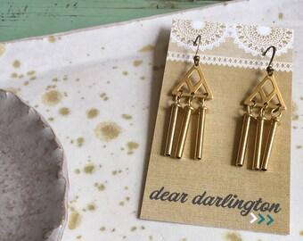 Wind chime brass earrings