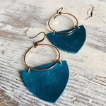Rose Gold Hoop & Emerald Cove Leather Shield Earrings