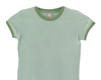 Blank Hyp Mint/Avocado Ringer Shirt (Girls szs. 7/8, 10/12, 14/16)