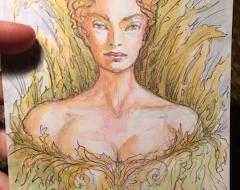 Green lady Original Painting by Renae Taylor