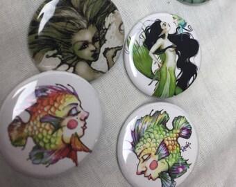 Set of 6 (mermaids) pins