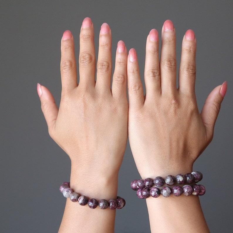 Tourmaline Bracelet Genuine Round Pink White Love Gemstone
