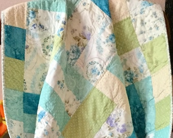 Baby Girl Quilt, Girl Baby Quilt, Quilt Baby Girl, Handmade Baby Quilt, Turquoise Quilt, Toddler Quilt, Child's Blue Quilt, Crib Quilt