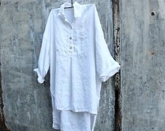 Marcelle Linen Shirt-White