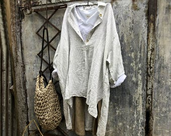Marcelle Linen Shirt-ticking stripe