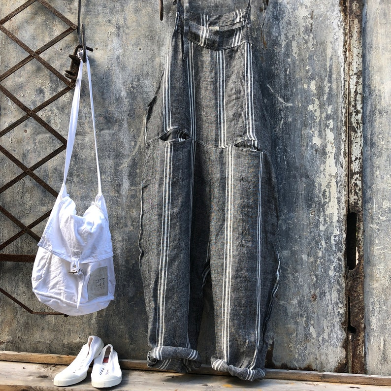 Dungarees Butcher stripe-charcoal