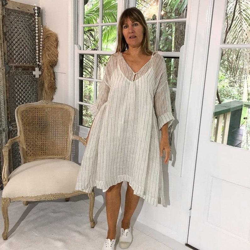 09d678e2b6a ON SALE Merci Linen Dress Grey and White Gauze Ticking